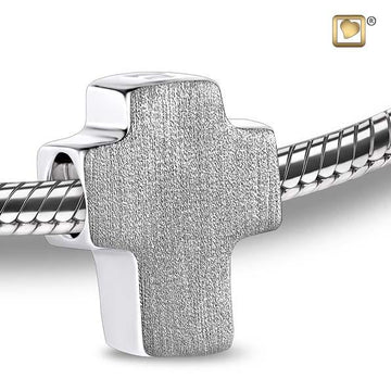 Cremation Bead Cross Rhodium Plated Two Tone