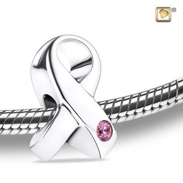 Cremation Bead Awareness Rhodium Plated with Pink Crystal