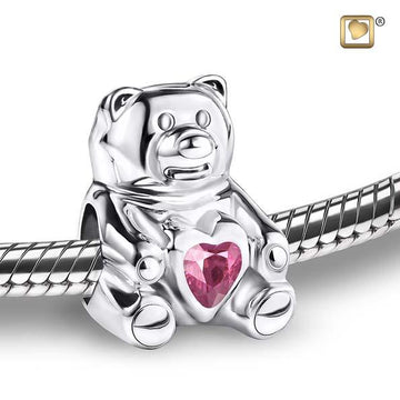 Cremation Bead CuddleBear Rhodium Plated with Pink Crystal