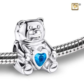 Cremation Bead CuddleBear Rhodium Plated with Blue Crystal