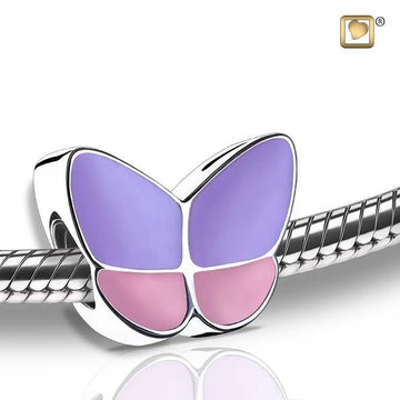 Cremation Bead Wings Of Hope Lavender Enamel Rhodium Plated