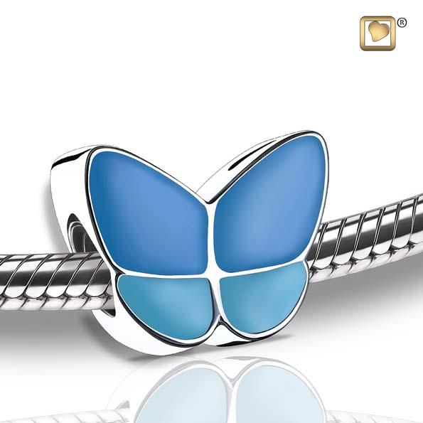 Cremation Bead Wings Of Hope Blue Enamel Rhodium Plated