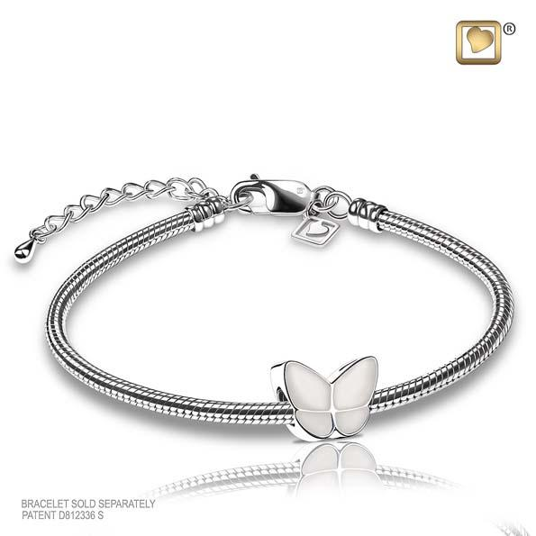 Cremation Bead Wings Of Hope Pearl Enamel Rhodium Plated