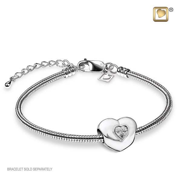 Bead Heart to Heart Rhodium Plated with Clear Crystal