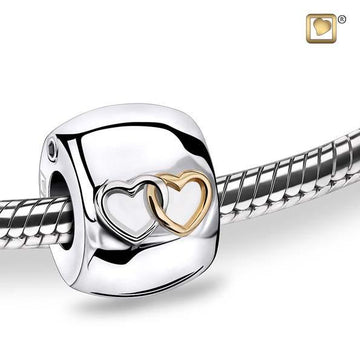Bead Entwined Hearts Rhodium Plated Gold Vermeil Two Tone Cremation Urn
