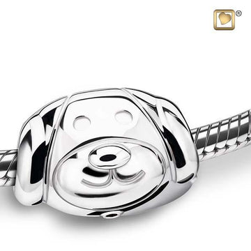 Cremation Bead Dog Rhodium Plated