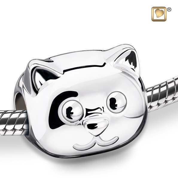 Cremation Bead Cat Rhodium Plated