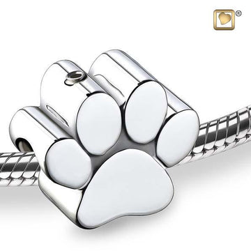 Cremation Bead Paw Rhodium Plated
