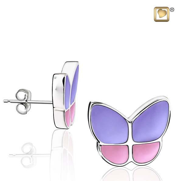 Stud Earrings Wings Of Hope Lavender Enamel Rhodium Plated
