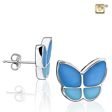 Stud Earrings Wings Of Hope Blue Enamel Rhodium Plated