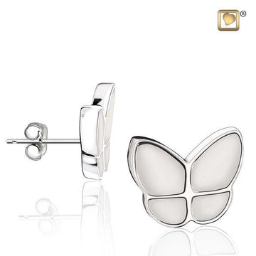 Stud Earrings Wings Of Hope Pearl Enamel Rhodium Plated