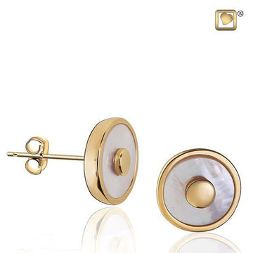 Stud Earrings Mother of Pearl Gold Vermeil