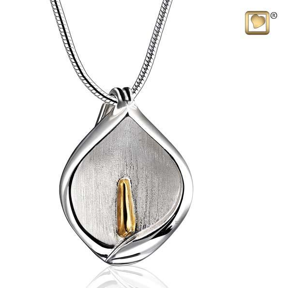 Pendant Calla Lily Rhodium Plated Gold Vermeil Two Tone