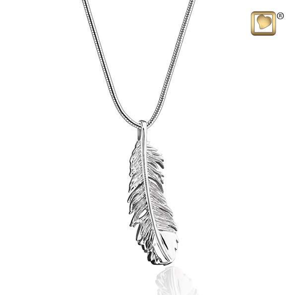 Cremation Pendant Feather Rhodium Plated