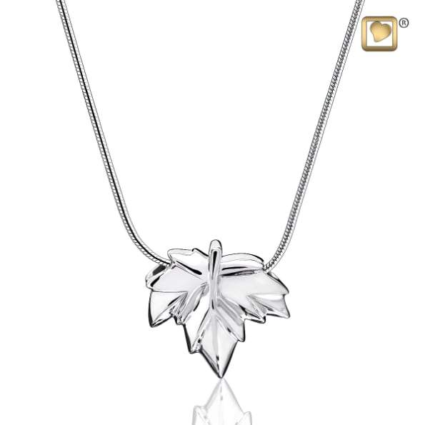 Cremation Pendant Autumn Leaf Rhodium Plated