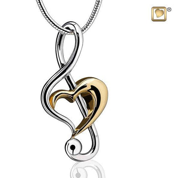 Pendant Treble Clef Heart Rhodium Plated Gold Vermeil Two Tone