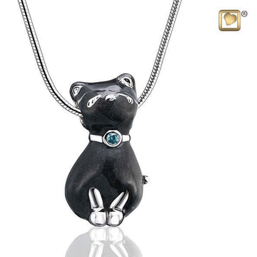 Pendant Princess Cat Midnight Enamel Rhodium Plated with Sapphire Swarovski Crystal