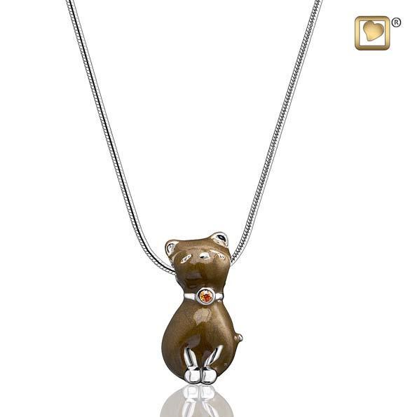 Pendant Princess Cat Bronze Enamel Rhodium Plated with Topaz Swarovski Crystal