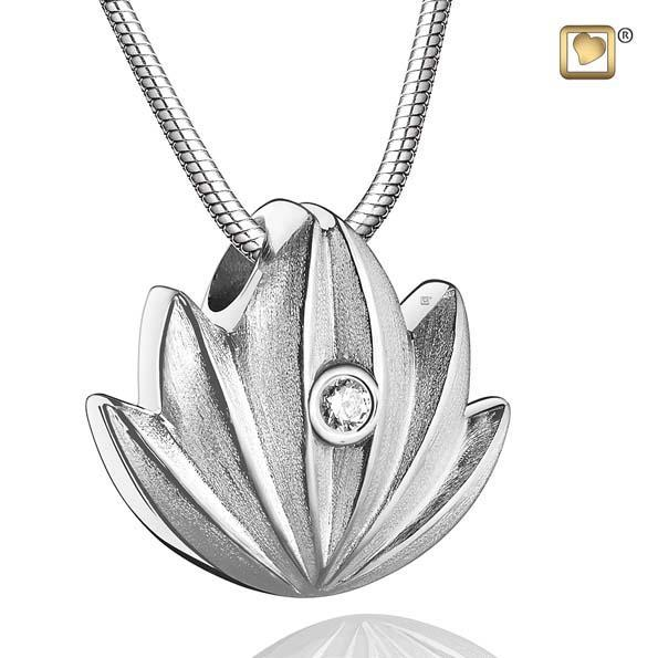 Pendant Lotus Rhodium Plated Two Tone with Clear Crystal