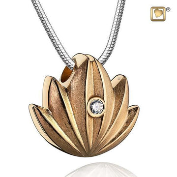 Pendant Lotus Gold Vermeil Two Tone with Clear Crystal