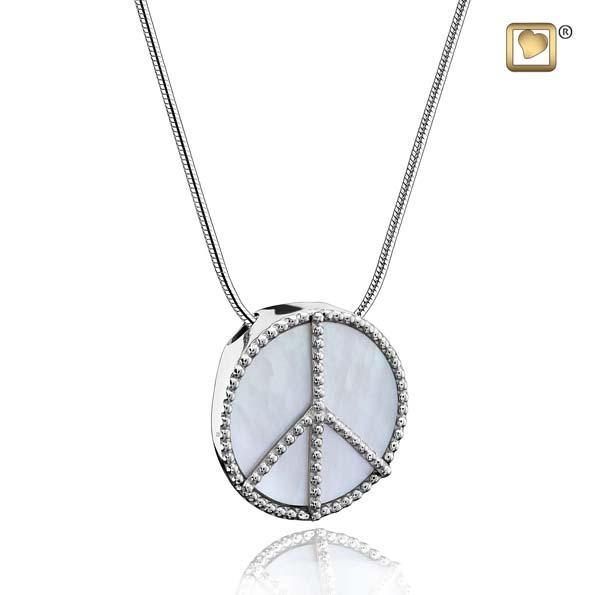 Pendant Peace Mother of Pearl Rhodium Plated