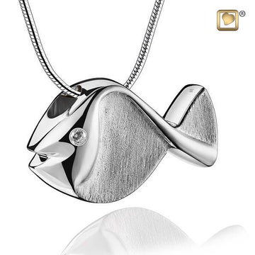 Pendant Fish Rhodium Plated Two Tone with Clear Crystal