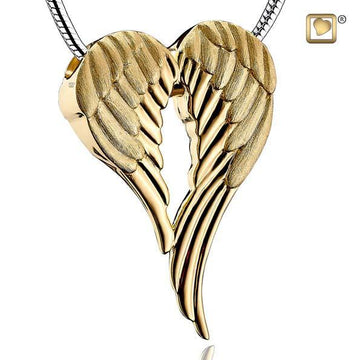 Cremation Pendant Angel Wings Gold Vermeil Two Tone