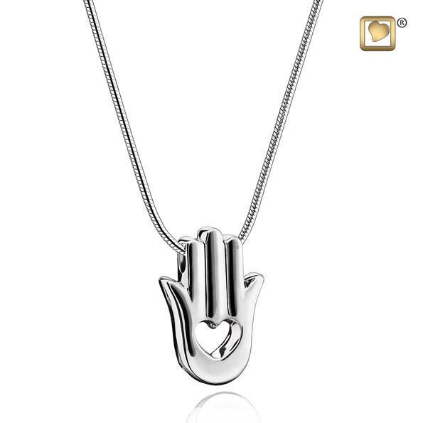 Cremation Pedant Hamsa Hand Rhodium Plated