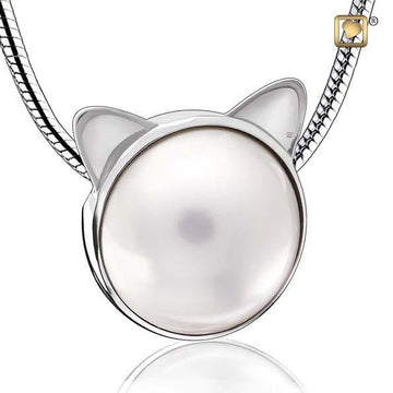 Cremation Pendant Cat Pearl Rhodium Plated