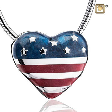 Cremation Pendant Stars & Stripes Enamel Rhodium Plated