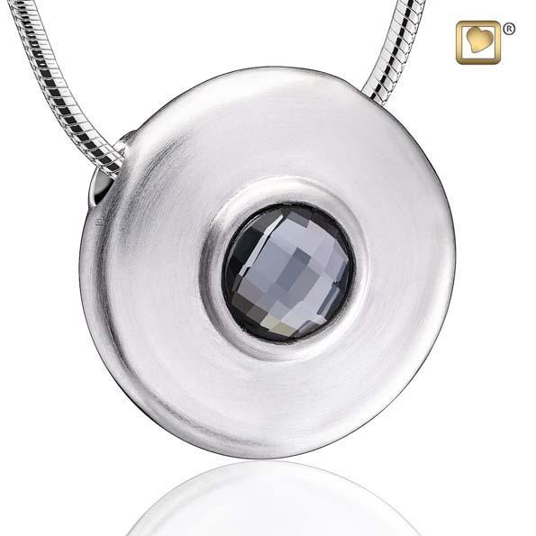 Pendant Simplicity Rhodium Plated with Black Swarovski Crystal