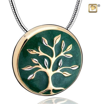 Cremation Pendant Tree of Life Enamel Gold Vermeil Two Tone