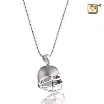 Cremation Pendant Football Helmet Rhodium Plated Two Tone