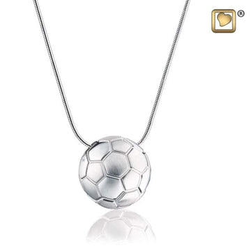Cremation Pendant SoccerBall Rhodium Plated Two Tone