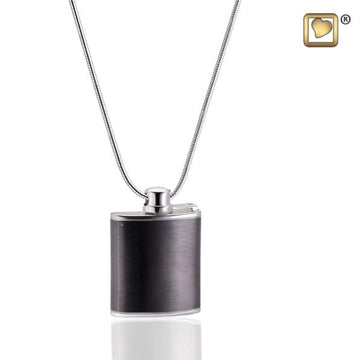 Cremation Pendant Flask Ruthenium Plated Two Tone