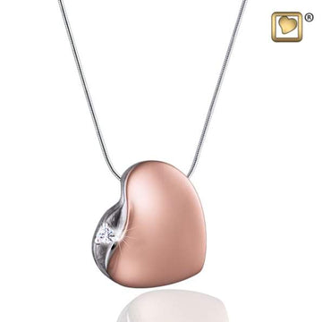 Cremation Pendant Leaning Heart with Crystal Rose Gold Vermeil