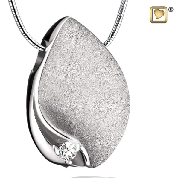 Cremation Pendant TearDrop with Crystal Rhodium Plated Two Tone