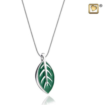 Cremation Pendant Leaf Enamel Rhodium Plated
