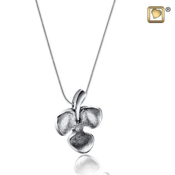 Cremation Pendant Shamrock Rhodium Plated Two Tone