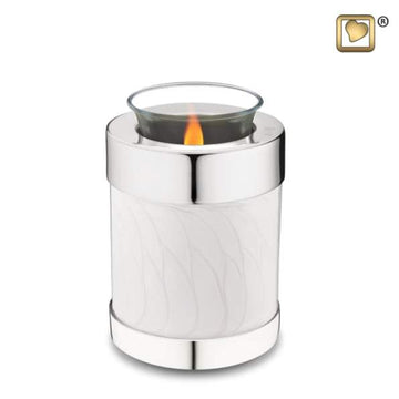 Tealight Pearl Silver Cremation Keepsake