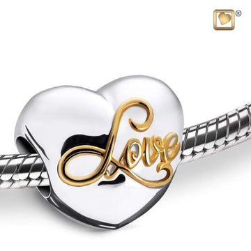 Bead Spell your Love Rhodium Plated Gold Vermeil Two Tone