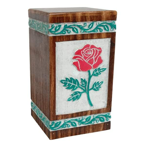 Wooden Urn With Color Rose -White