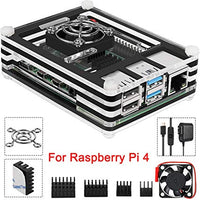Case for Raspberry Pi 4 B with Cooling Fan and Fan Guard,4 Pcs Heat Sinks,5V 3A USB-C Power Supply for Raspberry Pi 4 Model B
