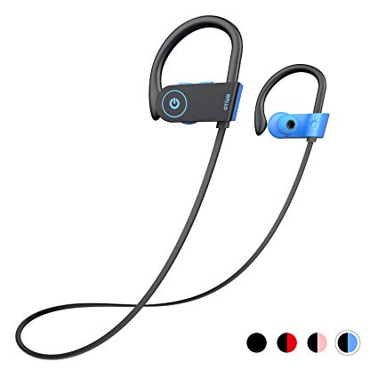 Bluetooth Headphones,  Wireless Headphones IPX7 Waterproof in-Ear Sports Earphones w/Mic for Gym Running Cyclying Workout (Blue)