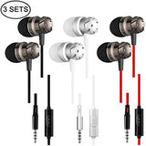 3 Packs Earbud Headphones with Remote & Microphone,  In Ear Earphone Stereo Sound Noise Isolating Tangle Free for iOS and Android Smartphones, Laptops, Gaming, Fits All 3.5mm Interface Device