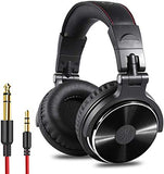 Adapter-Free Closed Back Over-Ear DJ Stereo Monitor Headphones, Professional Studio Monitor & Mixing, Telescopic Arms with Scale, Newest 50mm Neodymium Drivers - Black
