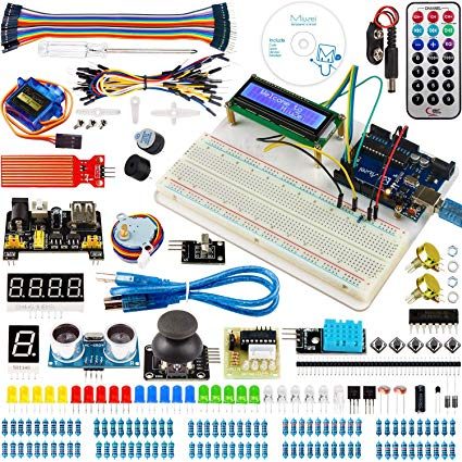 Starter Kit for Arduino Projects Including Breadboard Holder, LCD 1602, Servo, Sensors and Detailed Tutorials MA05