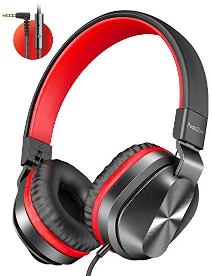 On-Ear Headphones with Microphone, Lightweight Folding Stereo Bass Headphones with 1.5M Tangle Free Cord, Portable Wired Headphones for Smartphone Tablet Laptop Computer MP3/4