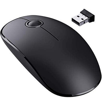 [Upgraded] Slim Wireless Mouse, 2.4G Silent Laptop Mouse with Nano Receiver, Ergonomic Wireless Mouse for Laptop, Portable Mobile Optical Mice for Laptop, PC, Computer, Notebook, Mac - Black