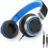 C8 Wired Headphones with Microphone and Volume Control Folding Lightweight Headset for Cellphones Tablets Smartphones Laptop Computer PC Mp3/4 (Black/Blue)
